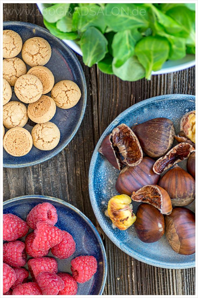 Rezept Maroni im Speckmantel mit Feldsalat und gerösteten Amarettini 180gradsalon.de