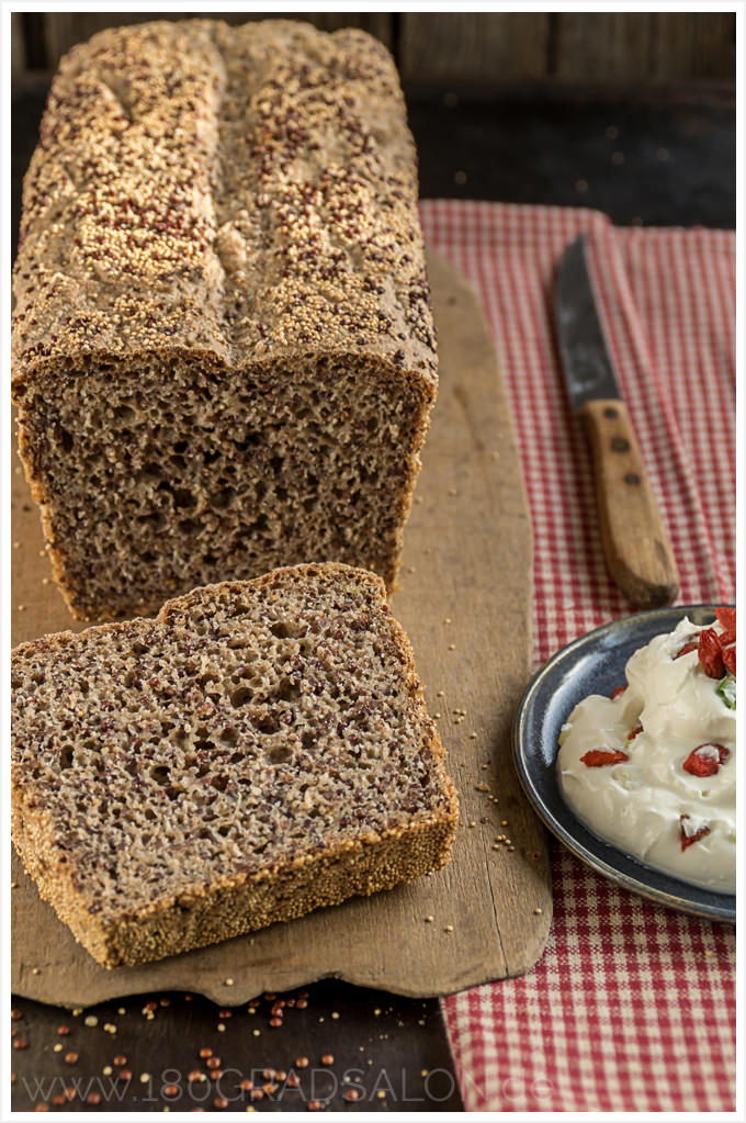 Rezept Superfood Brot backen mit Quinoa und Amaranth Dip mit Goji Beeren Thermomix 180gradsalon