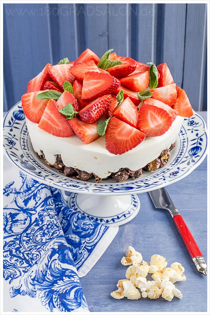 Rezept Schokoladige Popcorn Torte mit Zitronencreme und Erdbeeren ohne Backen 180gradsalon