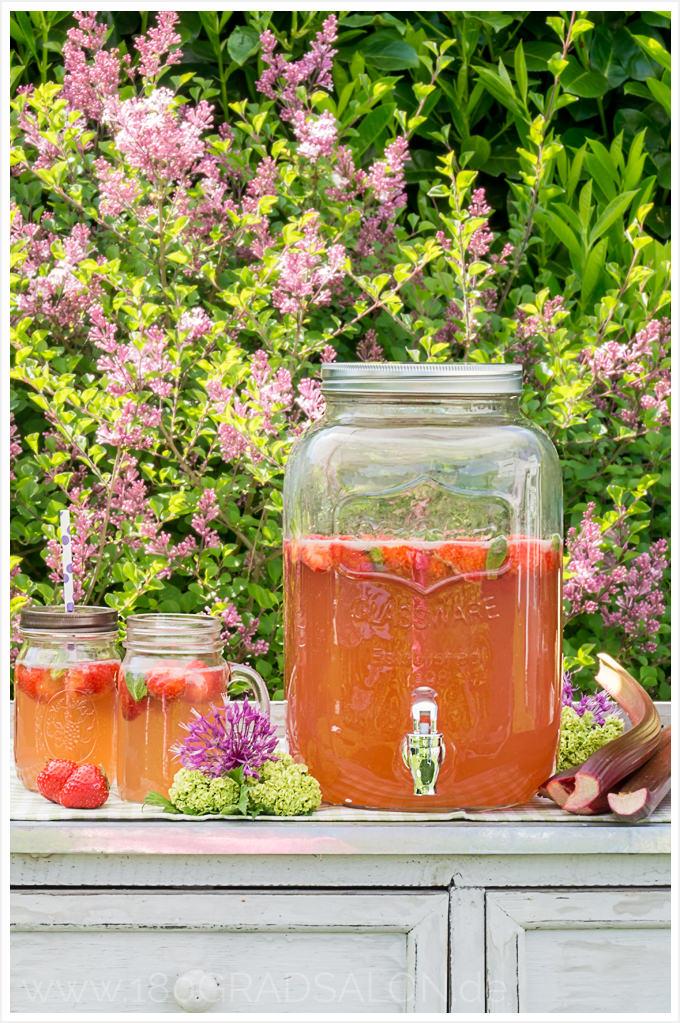 Rhabarber Erdbeer Bowle Rezept Sommerbowle Sommer Sommergetränk 180gradsalon