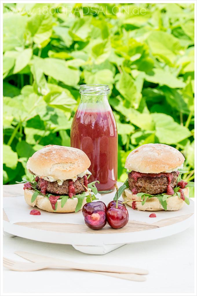 Rezept Kirsch-Ketchup Thermomix-Variante Burger Gorgonzola Rucola