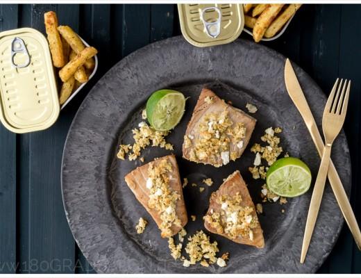 Rezept für Thunfischfilet mit Limetten und Feta