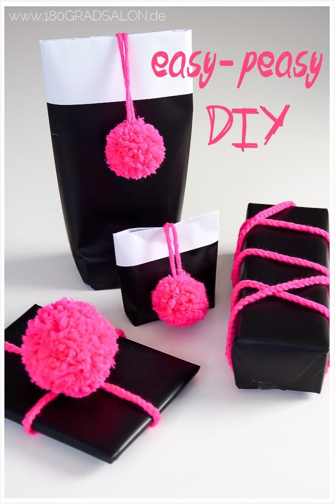Pompons Geschenke Verpackung kreativ DIY