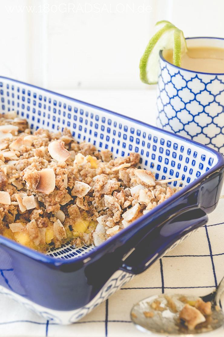 Rezept für Kokos Chips Krumble mit Mango