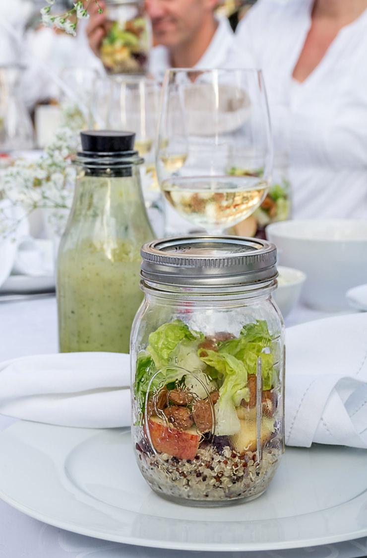 Diner en blanc Bocholt Rezept für eine Vorspeise Salat im Glas