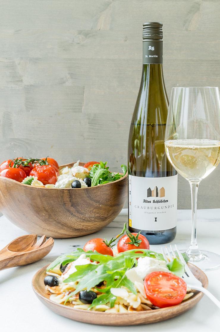 Rezept Sommerlicher Nudelsalat und eine Weinempfehlung aus der Pfalz