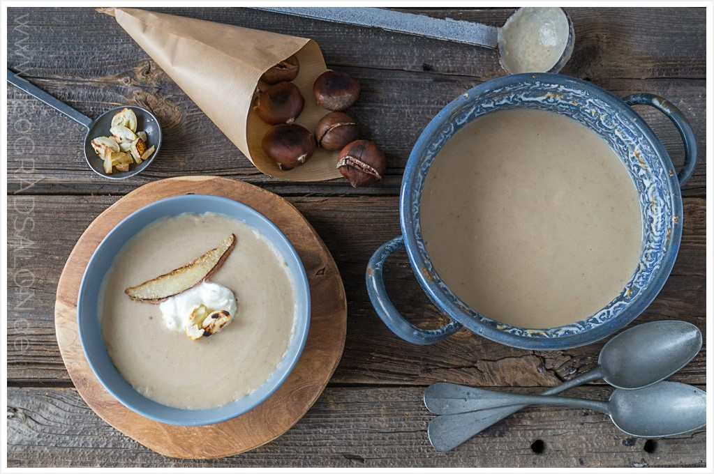 Maronen Creme Suppe Rezept mit Birnen 180gradsalon