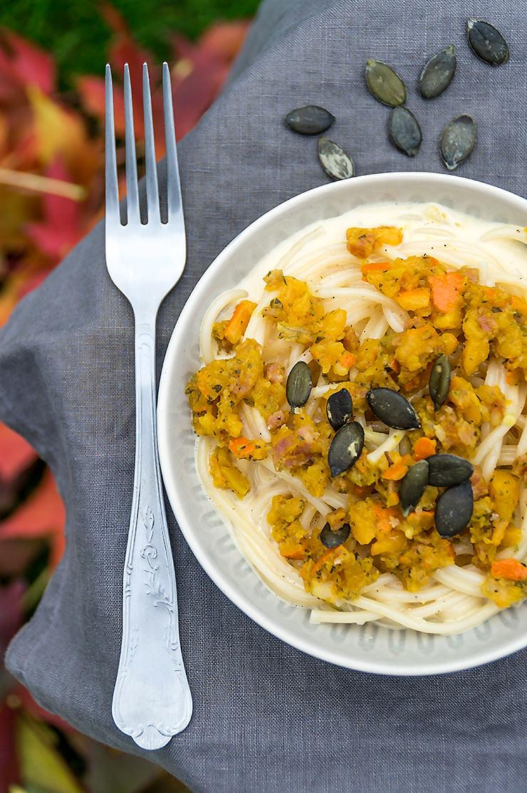Rezept Spaghetti mit Kürbis Carbonara auch für den Thermomix